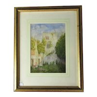 Framed Watercolour of Ruined Church Tower Vintage c1980