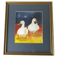 Framed Watercolour of Ducks Contemporary