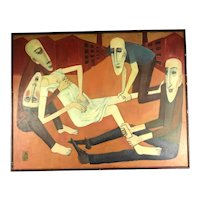 Oil on Canvas The Prostitute Amongst The Thieves By Alex Portner Mid Century Vintage c1960