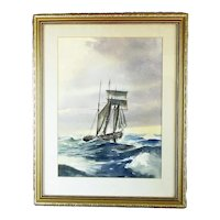 Large Framed Watercolour Painting 'Full Sail' by DR Smith Vintage