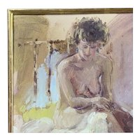 Oil On Canvas Nude Figure Of A Woman Vintage c1953