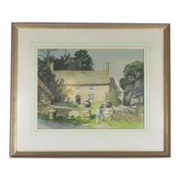 Watercolour & Pastel Painting of a Cotswold Cottage by P Redmayne Vintage c1980