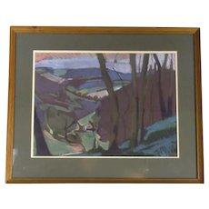 Large Framed Pastel Drawing Landscape CM White Vintage c1950s
