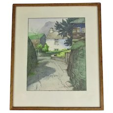 Pastel Drawing Village Street by William Heaton Cooper c1930