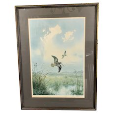 Gilded Wooden Frame Lithograph Of A Snipe By J.C. Harrison Vintage c1970