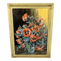 Large Original Gilded Wooden Frame Watercolour Painting Of a Poppies By Marion Broom Vintage c1930