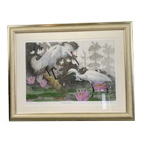 Gilded Wooden Frame Colour Metal Plate Etching Of Tranquility By John Akers Vintage c1970