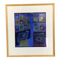 Wooden Frame Watercolor On Canvas Painting Of Abstract Indian Modern c2002