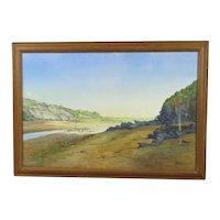 Large Framed Watercolour Estuary Scene Tom Smith Vintage c1952