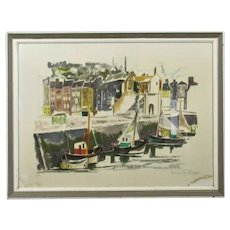 Lithograph Print Artists Proof Harbour by Simon Chaye Vintage