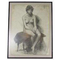 Framed Charcoal on Paper Life Study by H Mallium Antique c1870