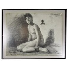 Framed Charcoal on Paper Life Study H Mallium Antique c1870