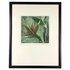 Framed Lithograph Leaves by George F Fallows Artist Proof Vintage c1970