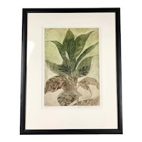 Framed Lithograph Plant by George F Fallows Artist Proof Vintage c1970