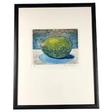Framed Lithograph Green Fruit by George F Fallows Artist Proof Vintage c1970