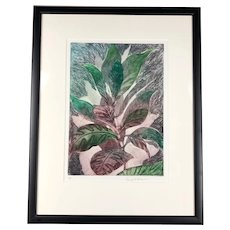 Framed Lithograph Plant Two by George F Fallows Artist Proof Vintage c1970