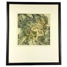 """Framed Lithograph """"Rockpool"""" by George F Fallows Artist Proof Vintage c1970"""
