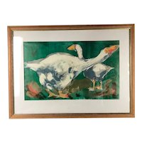 """Framed Lithograph """"Geese"""" Artist Proof by Alison Milner-Gulland Vintage c1950"""