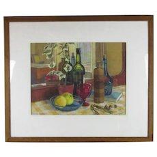 Large Framed Pastel Drawing Still Life by Kenneth Proctor Vintage c1950