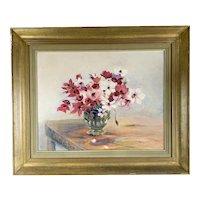 Large Original Gilded Wooden Frame Oil On Board Painting Of Flowers Vintage c1950