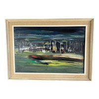Large Original  Wooden Frame Oil On Board Painting Of Abstract Figures By Beryl Maile Vintage c1973