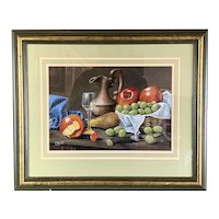 Original Gilded Wooden Frame Watercolor On Canvas Painting Of Apples And Gooseberry By Christopher Hope Vintage c1970