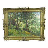 Gilt Framed Oil on Board Painting The Hill Path Vintage c1950