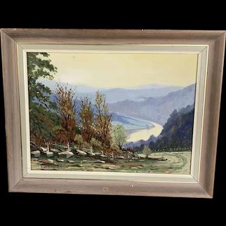 Original Oil On Canvas Landscape By Godfrey Johnson On Wooden Frame Vintage 1978