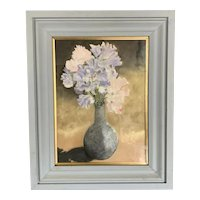 Original Gouache On Canvas Flowers By Frieda Williams On Wooden Frame Vintage 1990