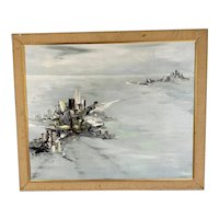 Original Oil On Canvas Abstract Seascape By Rawe On Wooden Frame Vintage Mid Century 1965