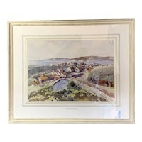 Original Watercolor On Canvas Barmouth Estuary By Donald Greig On Wooden Frame Vintage c1960