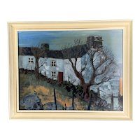 Original Mixed Media On Cottage And Trees By Ray Evans On Wooden Frame Vintage 1973