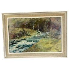 Original Oil On Canvas River Landscape By Susan Bishop On Wooden Frame Vintage Mid Century 1960