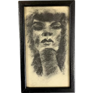 Original Charcoal Drawing Of A Woman American Vintage Mid Century c1950
