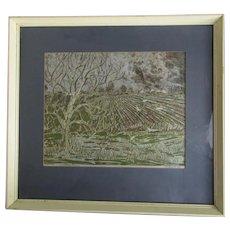 Framed Rural Landscape Linocut Print by Gwen Beyson Vintage c1974