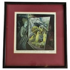 Etching & Watercolour Painting by HG Williams Vintage c1989