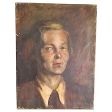 Oil Painting Sketch of a Lady Bloomsbury School Antique c1921