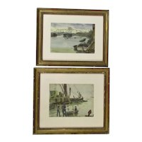Pair Framed Watercolour Paintings Essex UK Coast by R Matsuyama Vintage c1931