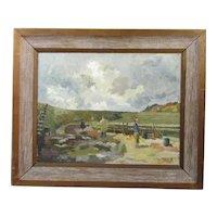 Oil on Canvas Painting Lyme Regis by Kathleen Richardson Vintage c1960