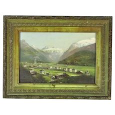 Small Oil on Card Painting Swiss Alpine Village Antique c1900