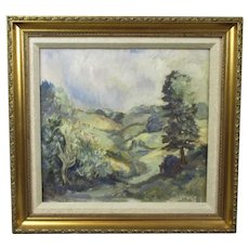 Oil on Board Painting Wooded Landscape by Kenneth Proctor Vintage