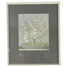 Framed Linocut Print 'Spring Blossom' by Gwen Beyson Vintage c1974