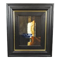 Oil on Board Painting 'Blue Bowl in Shadow' Michael John Hunt Contemporary