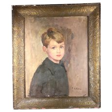 PL LACITING Boy Portrait on Canvas in a Rowley Gallery Frame Vintage Art Deco c1920/30