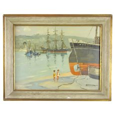 Oil on Board Painting 'St Ives, Cornwall' by Godwin Bennett c1950
