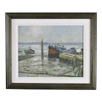 Smaller Oil on Board Painting 'Morning Pin Mill' by Alan Palmer Contemporary