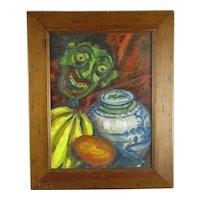 Framed Oil on Board Still Life Painting 'Ginger Jar' Vintage c1950