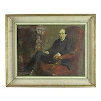 Oil on Board Painting Seated Man Bloomsbury School Vintage c1930s