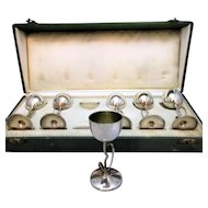 Boxed Set of 6 x  Antique 800 Grade Silver German Arts & Crafts Goblets c1910.