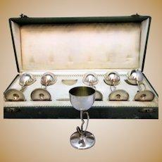 Boxed Set of 6 x  Antique 800 Grade Silver German Arts & Crafts Goblets c1910.